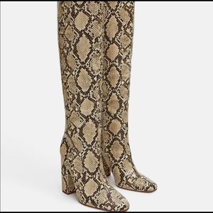 Zara NWT Snake Print Knee High Heeled Boots
